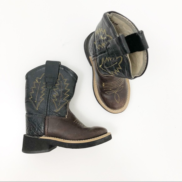 70a214b268b Old West Toddler Brown and Black Cowboy Boots